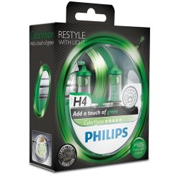 Komplet žarnic Philips H4 ColorVision Green 12V 60/55W