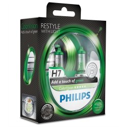 Komplet žarnic Philips H7 ColorVision Green 12V 55W